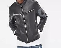 G-Star Raw Black Mens UK Leather Jacket UK Medium *ref56