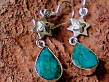 STERLING SILVER 35mm.DROP EARRINGS with STAR & FACETED EMERALD STONES £14.95 NWT