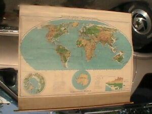 """WORKING VINTAGE 1958 DENOYER-GEPPERT 63""""/42"""" PULL DOWN SCHOOL WORLD MAP USSR"""