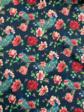 "Navy Peacock & Vintage Floral Printed 100% Cotton Poplin Fabric. 54"" Wide"