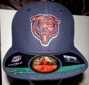 New Era NFL Chicago Bears Navy Blue 59FIFTY Fitted Hat size 6 5/8 NEW Free Ship