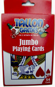 Jumbo Playing Cards  12cm x 9cm  Plastic Coated Wipe Clean - Free Post
