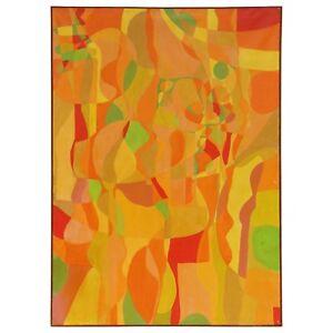 Abstract Painting by Susan Drake 36 x 50 Orange Midcentury Framed in Teak Walnut