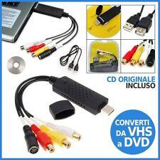 SCHEDA ACQUISIZIONE AUDIO VIDEO TRASFERISCI VIDEO VHS CAPTURE USB PC NOTEBOOK