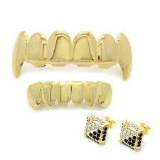 14K Gold Plated Hip Hop Teeth Grillz Top Fang & Bottom Set & Micro Pave Earrings