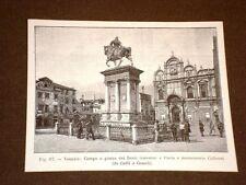 Rara veduta di Venezia di fine '800 Piazza Santi Giovanni e Paolo Mon. Colleoni