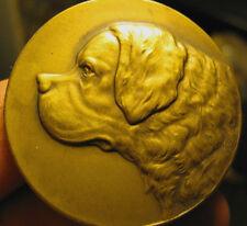 ANTIQUE BRONZE SAINT BERNARD DOG COIN MEDAL ART PLAQUE BELGIUM SCULPTURE HUBLEY