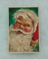 Vintage Christmas Card - Jolly Merry Santa - White Glitter Border - Hallmark