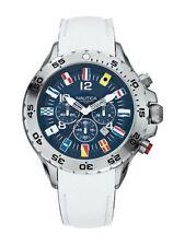 Nautica Mens A24514G Chronograph Nautical Flags Watch Navy Blue Dial White Strap