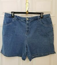 WHITE STAG 100% Cotton Blue Denim Flat Front Denim Shorts Sz 18