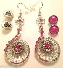 ❤️Snap Chunk Jewelry Gift Set! Rhinestone Earrings & 6 Noosa Button Charms USA❤️