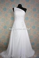 UK 1523 White Ivory Wedding Dresses dress chiffon one shoulder lace up back
