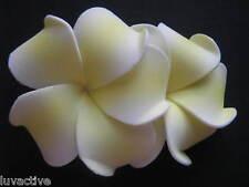 """2"""" Hawaiian PLUMERIA FLOWER FOAM HAIR CLIP Yellow White"""