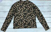 Zara Green Leopard Smudge Print Boxy High Neck Ribbed Top S - B14