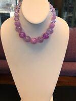 Vintage shades of pale Lavender aqua faceted Opaque Lucite graduated necklace