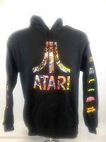 Atari Multi Color Logo Black Hoodie Mens Sz S