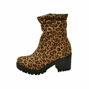 Soda ZOOEY Light Tan Cheetah Women's Block Lug Heel Ankle Booties