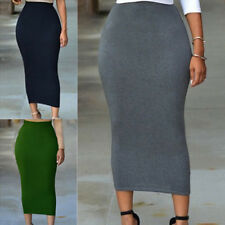 Women 3 Color Solid High-waisted Long Bodycon Maxi Skirt Pencil Fashion Dress