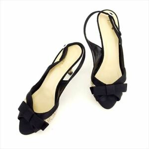 Kate Spade Flip Flops Black Gold Satin leather 7B Woman Authentic Used T7801