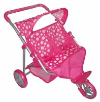 Childrens Kids Pink Twin Pram For Baby Dolls Buggy Toy 3+