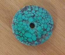 Antique Natural Tibetan Turquoise Disc, Mala bead , rare   specimen 25.2 g