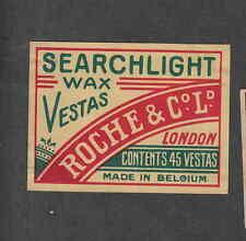 Ancienne   étiquette  allumettes de paquet  Belgique DS176 Roche  Searchlight