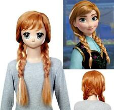 AW12 - Frozen Princess Anna Long Braids Weaving Ponytail Cosplay Wig Brown