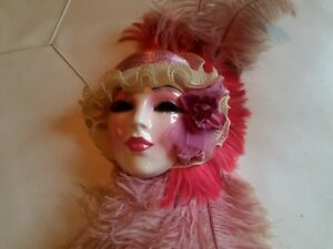 Vintage Ceramic Wall Mask Art Deco Clay Art Large