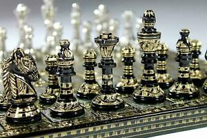 """14"""" Collectible Large 100% Brass  Chess board game set for adults 14X14 inch"""