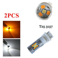 2PCS 3157 High Power Dual Color T25 3457 2835 28-SMD Turn Signal Bulbs Newest