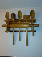 Vintage Wooden Wall Utensil Holder With Rolling Pin, 3 Spoons, Mallet, Masher