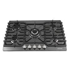 "New listing 30"" Black Titanium Cooktop 5 Burner Built-in Lpg/Ng Gas Hob -Cast Iron Stands ~"