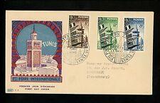 Postal History Tunisia Sc#231-235 FDC Int'l Fair Flags 10/17/1953 Tunis set of 2