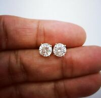 3Ct Round Cut Moissanite Diamond Solitaire Stud Earrings Solid 14K White Gold