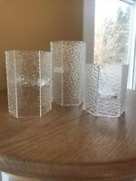 Vintage Mid Century MODERN Van Horn Hayward LUCITE Candle Holders ICE Glass Look