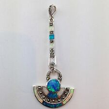 STUNNING ART DECO STYLE BLUE AND WHITE GILSON OPAL MARCASITE PENDANT 925 SILVER