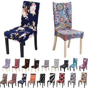 1-10PC Dining Chair Seat Slip Covers Stretch Christmas Floral Banquet Removable