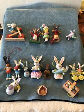 (15)Midwest Importers Of Cannon Falls Easter wood pull string ornaments puppets