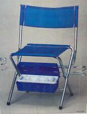 Vintage Folding Fishing Chair Seat Stool Metal Frame Camping NOS Retro Blue