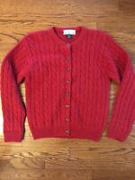 Vintage ORVIS Womens SMALL Red Wool Button-Front Cableknit Cardigan Sweater