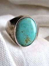 VTG NAVAJO STERLING RING, NEVADA BLUE TURQUOISE CABOCHON SZ 11.5 - 12 DOWNSIZING