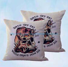 set of 2 pillows decorative Sailor Jerry tattoo rats fat cushion cover