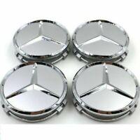 4 Silver Chrome For Mercedes Benz Wheel Center Caps Emblem Wreath Hubcaps 75MM