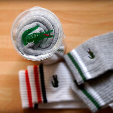 2x Lacoste Crew White Cushioned Ribbed Ankle Athletic Tennis Women's Sport Socks 2 Greys EU 29-35 UK 2.5 US 3.5