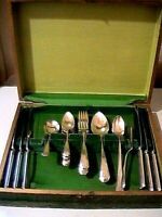 Antique Victorian 28 Piece WM. A Rogers Silver-plate Silverware Set Original Box