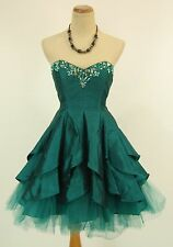 NWT Beyond Jovani Size 8 Short Knee-Length Bubble Strapless Teal $250 Formal