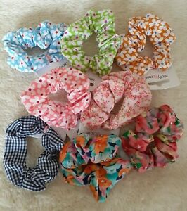 Small 7cm Cotton Scrunchies - Choice of 9 Colours & Designs