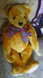 "Large vintage golden brown Merrythought teddy bear tartan ribbon hump back 21"""