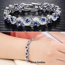 Plata pulsera de diamantes de cristal de zafiro azul Y-Navidad Regalos para su esposa mujeres