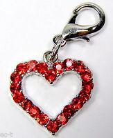2 x Herzanhänger - Halsbandanhänger mit funkelndem Strass - Roter Herz Anhänger